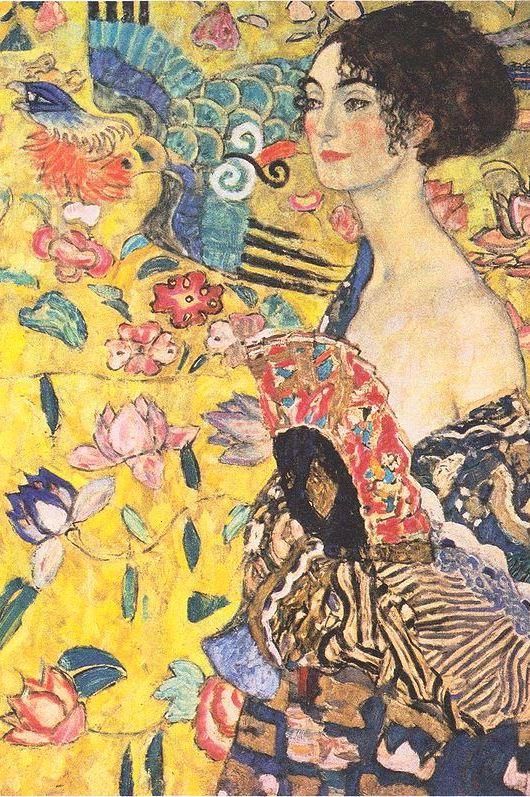 Wikipedia - Gustav Klimt -Dame mit Fächer - výrez