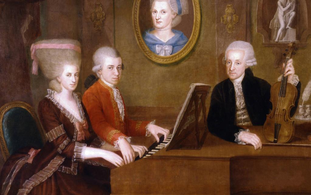 Wikipedia - Mozart so sestrou a otcom